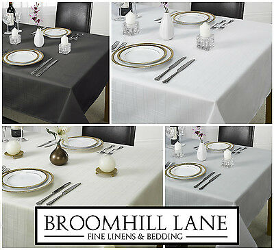 New! Plain Checked Large / Small Table Cloths Linen Silver Black Cream White