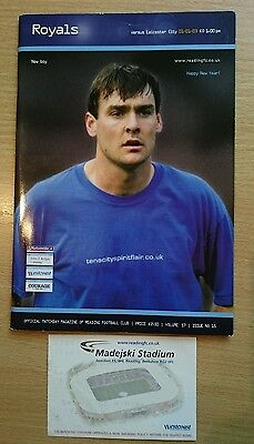 Reading v Leicester City programme/ticket Championship season 2002/03 -abandoned