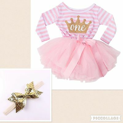 Baby Girls First 1st Birthday Outfit Tutu Skirt Dress Pink Cake Smash & Headband