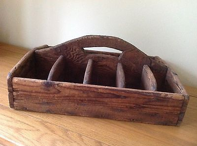 Vintage Wooden Tool Tray With Handle