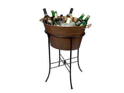 Oasis Oval Party Beverage Cooler Tub with Stand in Antique Copper @Artland