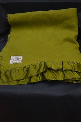 "Vintage Early's Of Whitney 100% Merino Wool Satin Trim Blanket -   W 87"" - L 95"""