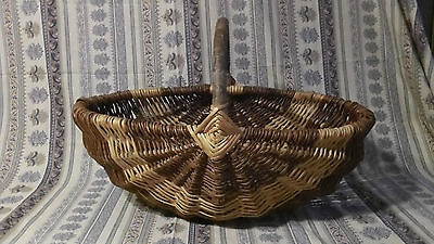 French Vintage Large Rustic Willow Basket for collecting Storing Vegetables 1920