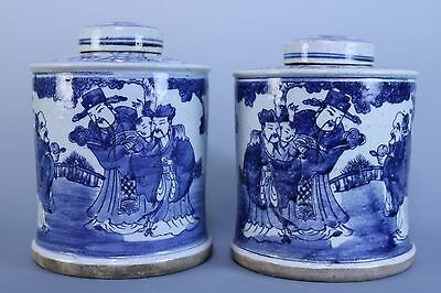 Beautiful Chinese A Pair Blue and White Porcelain Characters Tea Leaves Pots