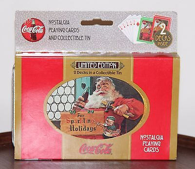 COCA COLA SANTA NEW 2 Decks PLAYING CARDS TIN  LIMITED EDITION COKE