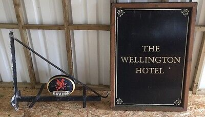 large Old pub/ Hotel Sign With Brains Heavy Bracket
