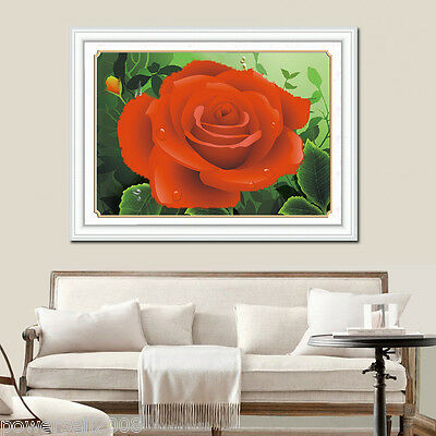 Modern Simplicity Cotton Decoration Frameless Crafts Cross Stitch Red Rose &$