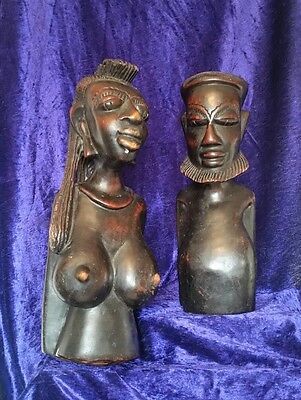 Antique African Hand Carved Ebony Tribal Male & Female Busts c1930s