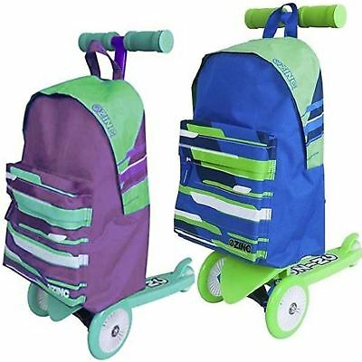 Zinc Backpack Kick Push Scooter Trolley School Rucksack Bag Ride on 3 Wheel Toy