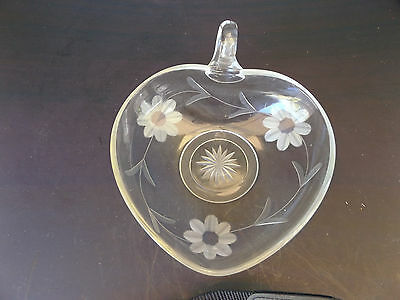 Vintage Glass Heart Shaped Candy Dish With A Handle