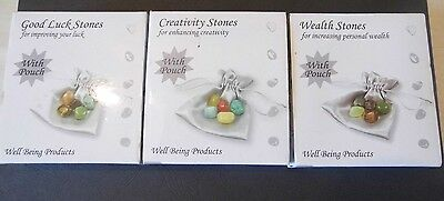 Wealth Stones, Creativity Stones, Good Luck Stones in Pouch sets with 5 Stones