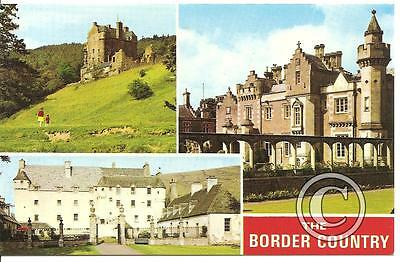The Border Country Neidpath Castle, Abbotsford and Traquair, 1970's - postcard