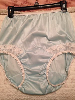 Vintage Style Baby Blue NYLON PANTIE Long Wide Double GUSSET WHITE LACE INSET