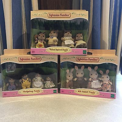 Sylvanian Families Boxed Bundle Hedgehog Squirrel And Rabbit Family Brand New