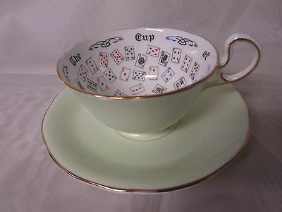 Aynsley Bone China Cup of Knowledge Fortune Teller Teacup & Saucer Mint Green