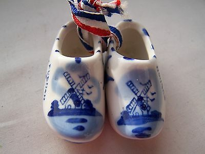 Clogs, Windmill, Blue & White Ware, Porcelain, Wall Hanger, Vintage