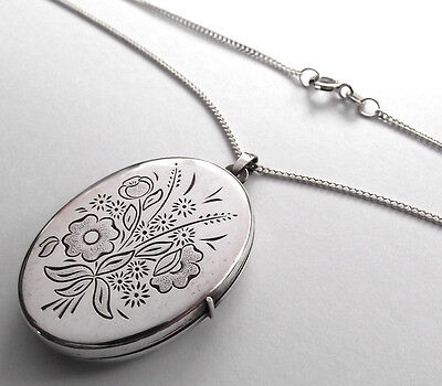 Vintage Solid Silver Oval Locket With Spring Flowers And Silver 20 Inch Chain