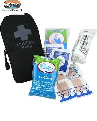 BLACK SMALL POCKET FIRST AID KIT POUCH - Tactical Camping Survival Hiking Army
