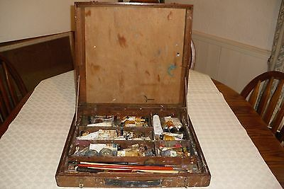 Wooden Artist Box with contents.