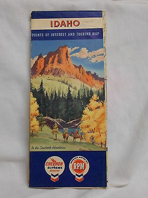 vint 1957 CHEVRON GASOLINE IDAHO HIGHWAY ROAD TOURING MAP STANDARD OIL