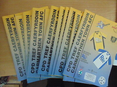 Bundle 12 Carmarthen Town FC Home Programmes Listed 2002/3