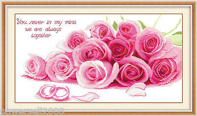 Modern Simplicity Cotton Decoration Frameless Crafts Cross Stitch Pink Roses &$