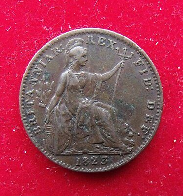1823 George IV Copper Farthing Britiish Coin. in Good fine condition