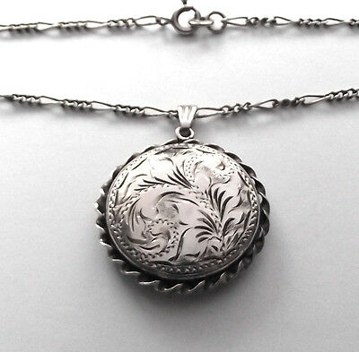 Vintage Sterling Silver Round Locket And Fancy Silver 20 Inch Chain
