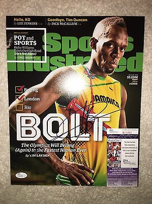 Usain Bolt Signed Sports Illustrated 11x14 Photo 9 Gold Medals Jamaica JSA #2