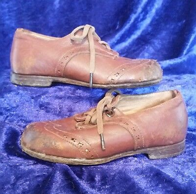 Genuine Edwardian Childrens Genuine Leather Antique Shoes Great Display Pieces