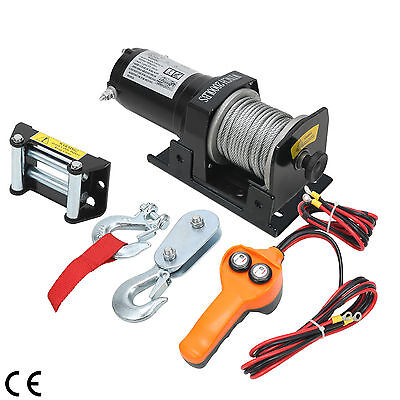 2000LBS/907KG Electric Recovery Winch 12V Remote Control Rope ATV Truck Vehicle
