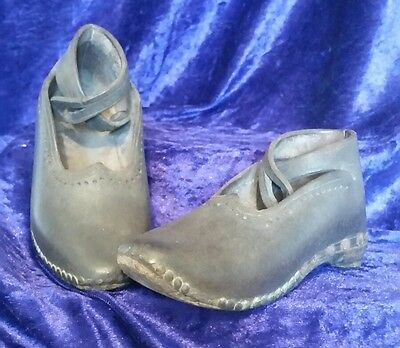 Authentic Victorian Childs Leather Handmade Clogs Childrens Shoes c1880