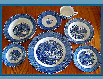 Vintage Currier & Ives Blue The Old Grist Mill 7 Piece Place Setting!