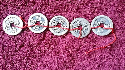 Set 5 Silver Chinese Ancient Emperors Dynasty Coins In Order.D-3.2cm.Valuable