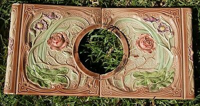 French Art Nouveau Depose Antique Stove two square tiles roses majolica