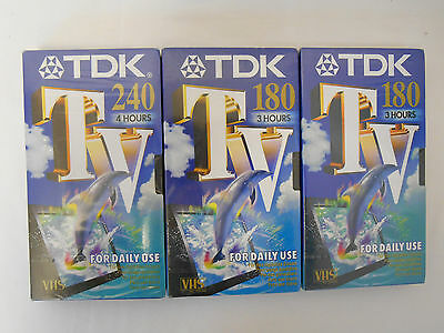 3 x TDK VHS Tapes Blank E180 E240 New and Sealed