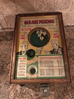 Vintage 1930's Old Age Pension Trade Simulator Coin Operated Dice Game Rare