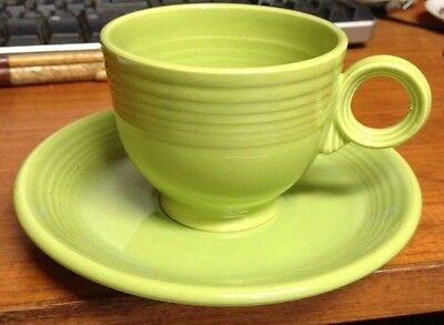 Vintage Fiesta Ware Cup & Saucer Chartreuse Color Green Ring Handle NR