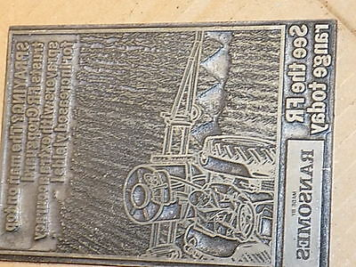 Vintage Ransomes Tractor Advertising Printing Plate Collectible