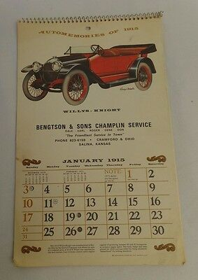 Vintage Automemories of 1915 Advertising Calendar
