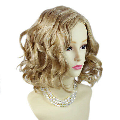 Lovely Short Curly Blonde mix Summer Style Skin Top Ladies Wigs from WIWIGS UK