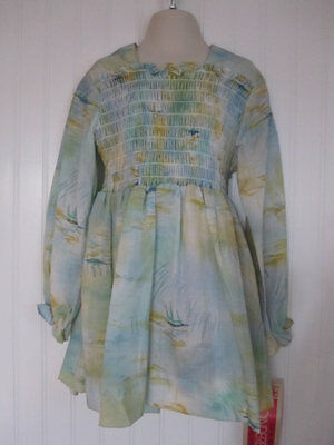 Vintage Girls Size 6 Smocked Dress New Old Stock Cinderella Brand with Hang Tag