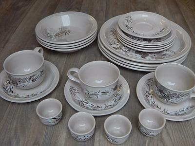 Poole Pottery Mandalay 24 Piece Set 4 Cup Saucer Dinner Side Plate Bowl