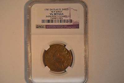 1787 New Jersey Colonial- NGC VG Details.  Cleaned. Small Planchet, Plain Shield