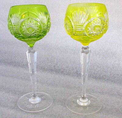 2 Vintage Crystal Colored Cut To Clear Czech Bohemian Wine Glasses Green Yellow