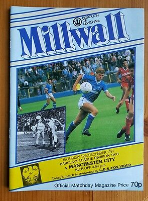 MILLWALL v MANCHESTER CITY PROGRAMME 1987 WITH STUB. EXCELLENT CONDITION.