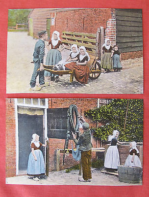 Two Vintage Postcards Of Zeeland Peasants Holland Gorgeous Condition Unposted