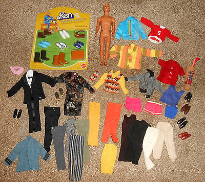 VINTAGE KEN DOLL LOT MATTEL BARBIE 1970's SHOES OUTFITS ADD-ON PACKAGE