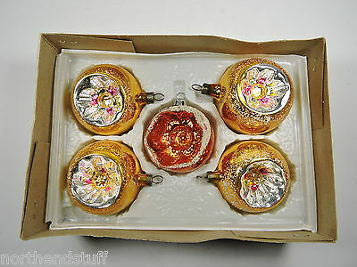 5 Vtg Round Glass Xmas Ornaments With Single Indents ~ Czechoslovakia & Poland