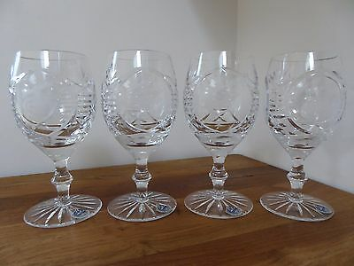 4 Glenfarclas wine glasses,Curling Competition 1989, Glencairn Crystal, perfect